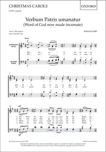 Verbum Patris umanatur (Word of God now made incarnate)