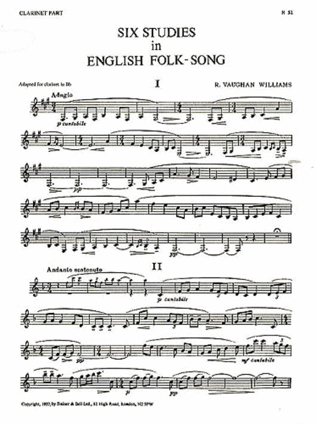 Six Studies in English Folk Song for Clarinet
