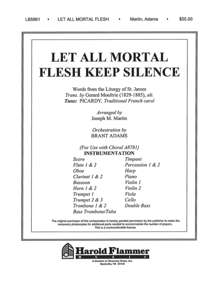 Let All Mortal Flesh Keep Silence (from Voices Of Xmas) For A8781