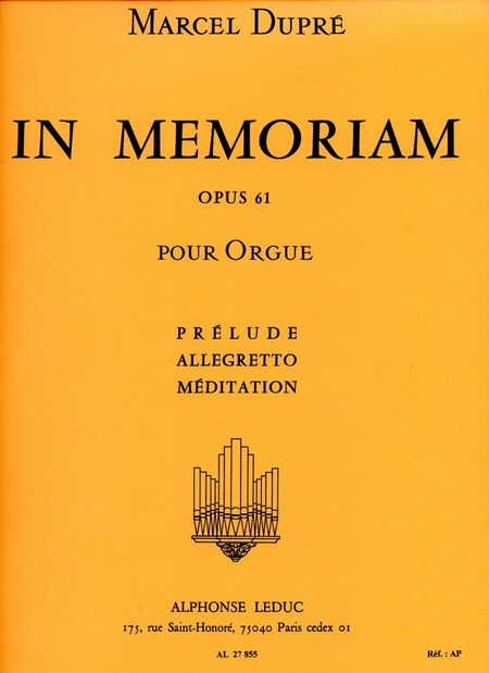 In Memoriam/Op61 - Vol 1/Prelude-Allegretto-Meditation/Orgue
