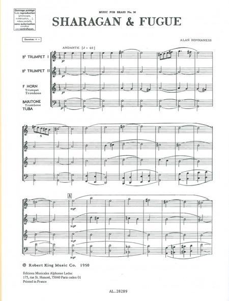 Sharagan And Fugue - Brass Quartet