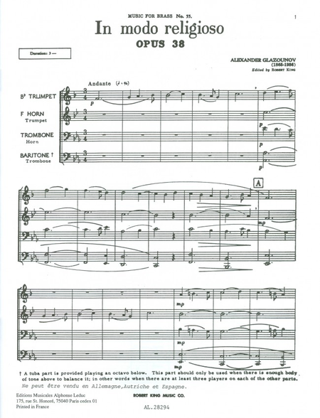 In Modo Religioso - Brass Quartet