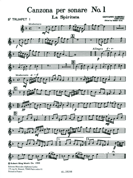 Canzona Per Sonare No.1 - Brass Quartet