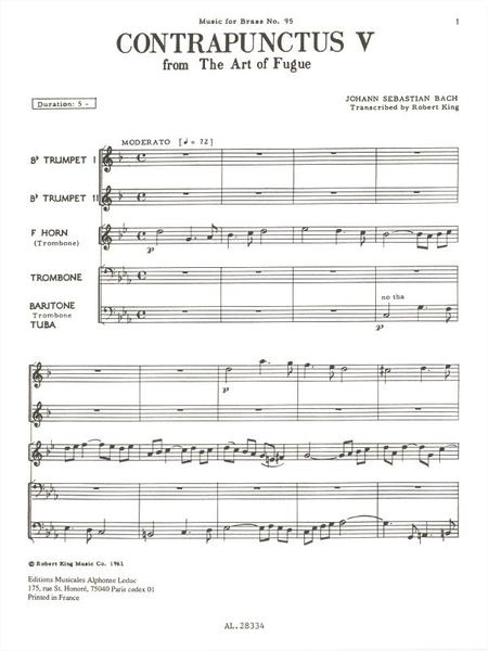 Art Of Fugue/Contrapunctus 5 - Brass Quintet