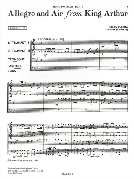 Allegro And Air Fr.King Arthur - Brass Quartet