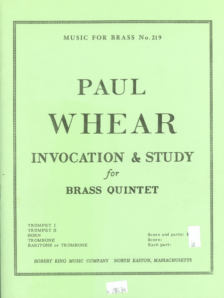 Invocation And Study - Brass Quintet