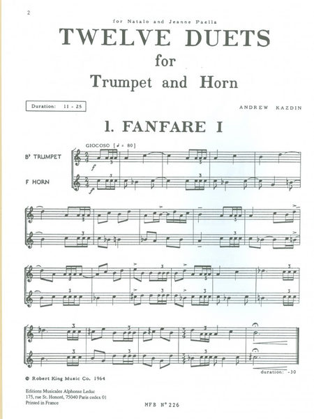 12 Duets For Trumpet and Horn