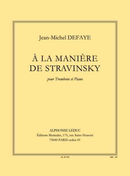 A La Maniere de Stravinsky - Trombone et Piano