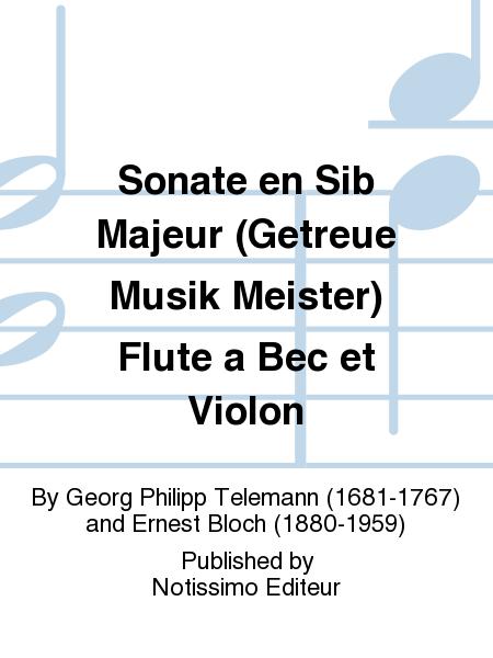 Sonate en Sib Majeur (Getreue Musik Meister) Flute a Bec et Violon