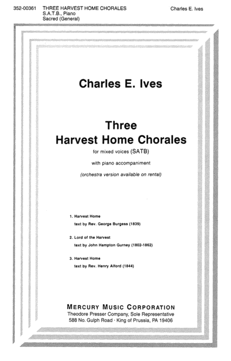 Three Harvest Home Chorales