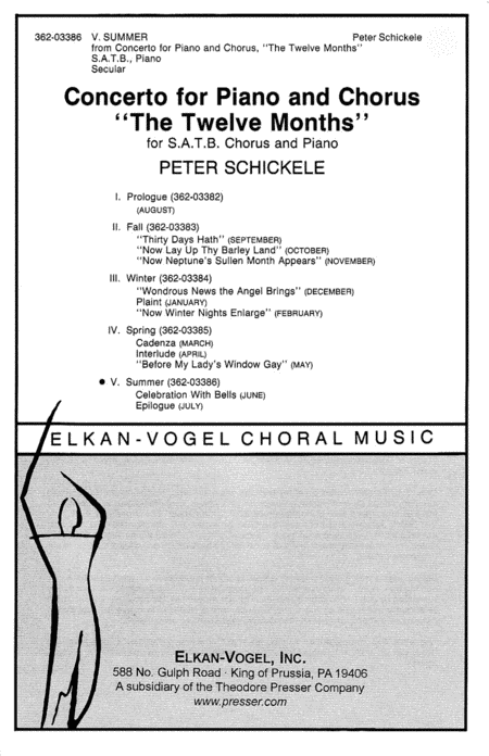 V. Summer, From Concerto For Piano And Chorus