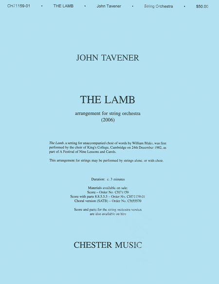 John Tavener: The Lamb (String Orchestra Version) Score