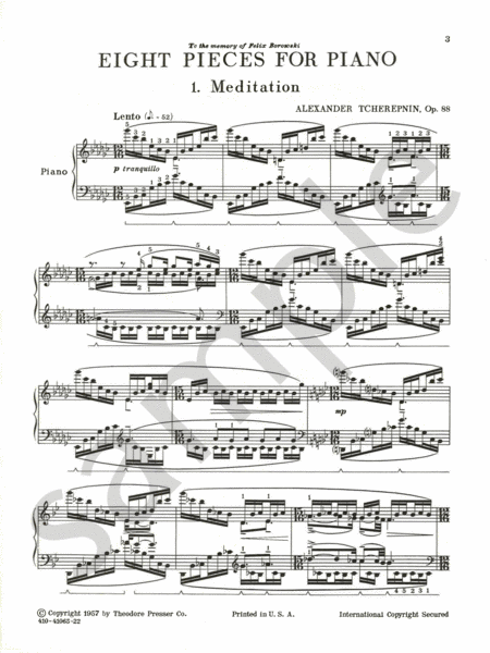 Eight Pieces for Piano