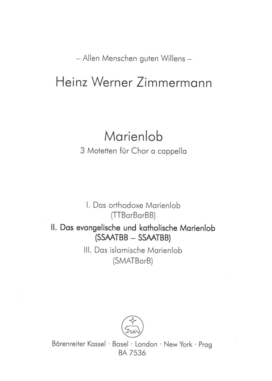 Marienlob: II. Das evangelische und katholische Marienlob