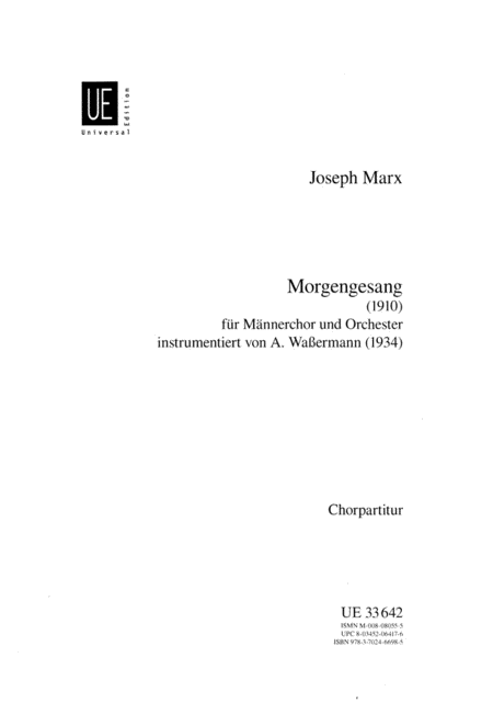 Morgengesang; Choral Score