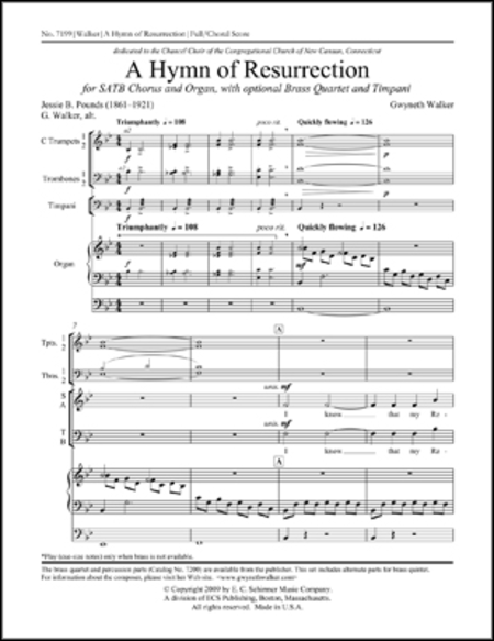 A Hymn of Resurrection (Full/Choral Score)
