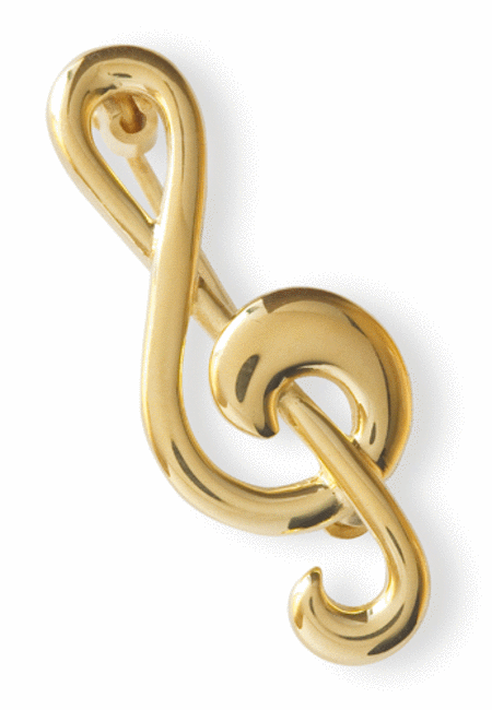 Gold-plated brooch : treble clef