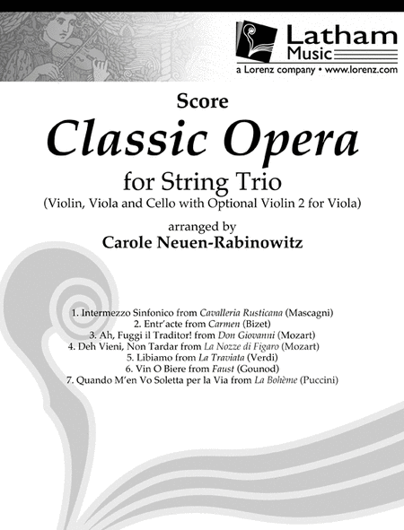 Classic Opera for String Trio - Score