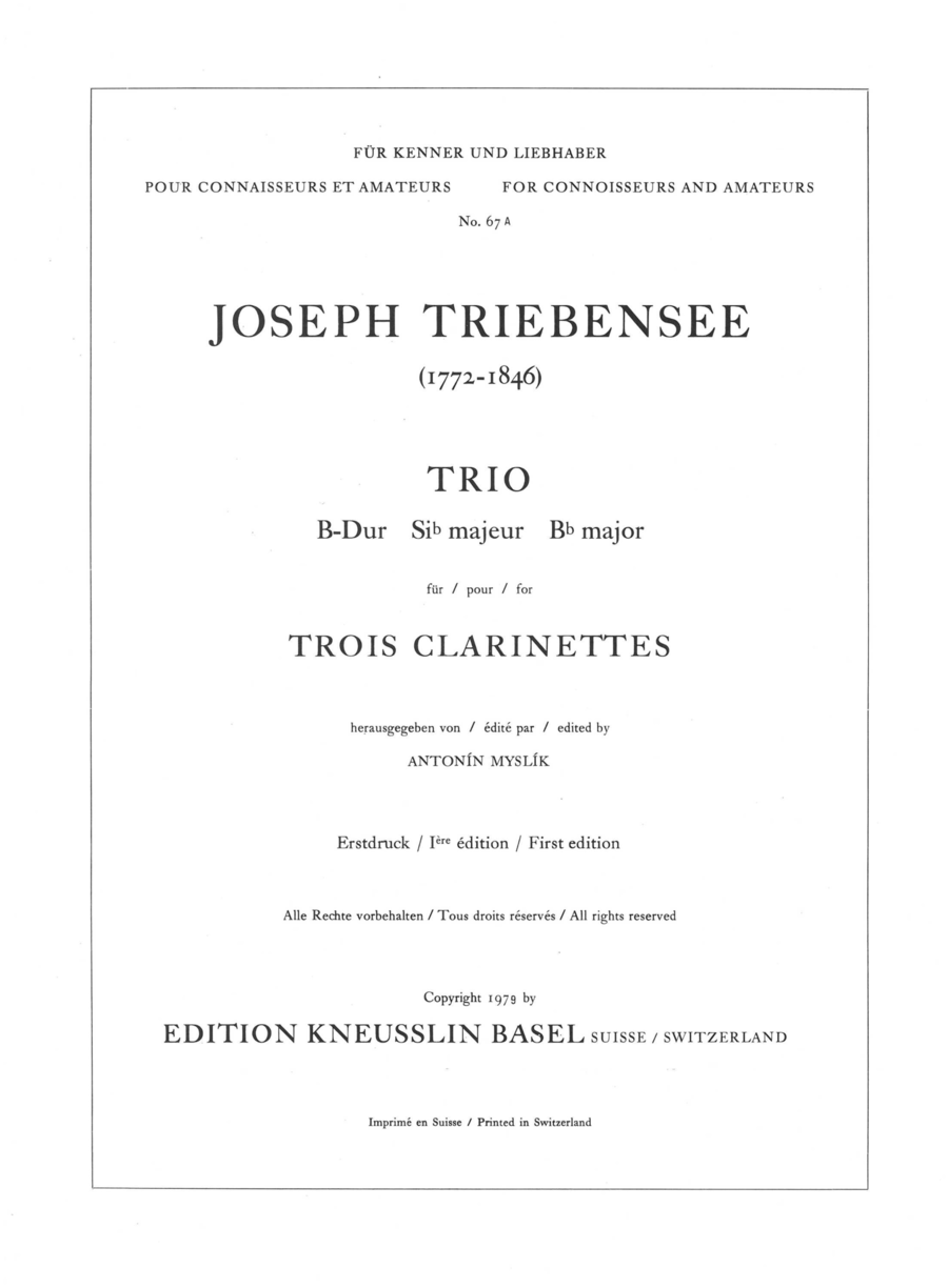 Trio in Bb Major for 3 Clarinets