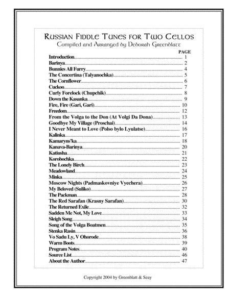 Russian Fiddle Tunes for Two Cellos