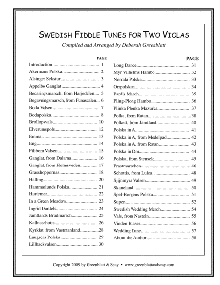 Swedish Fiddle Tunes for Two Violas
