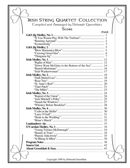 Irish String Quartet Collection - Score