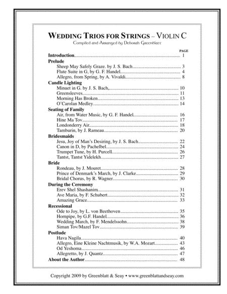 Wedding Trios for Strings Violin C