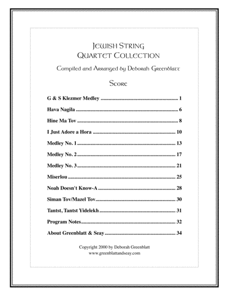 Jewish String Quartet Collection - Score