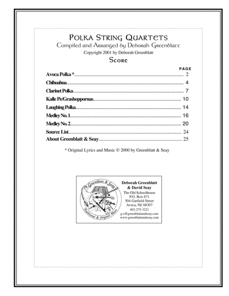 Polka String Quartets - Score