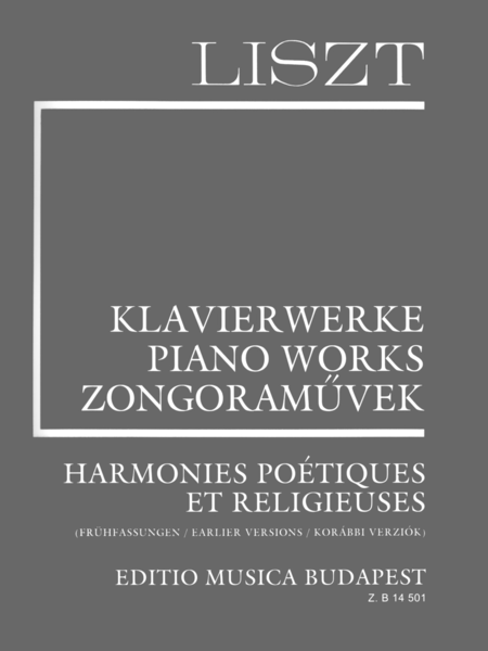 Harmonies Poetiques Et Religieuses - Earlier Versions (Suppl. 6)