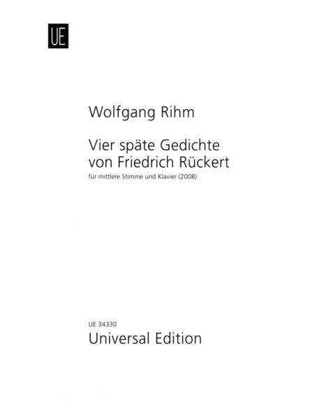 Vier Spate Gedichte Von Friedrich Ruckert