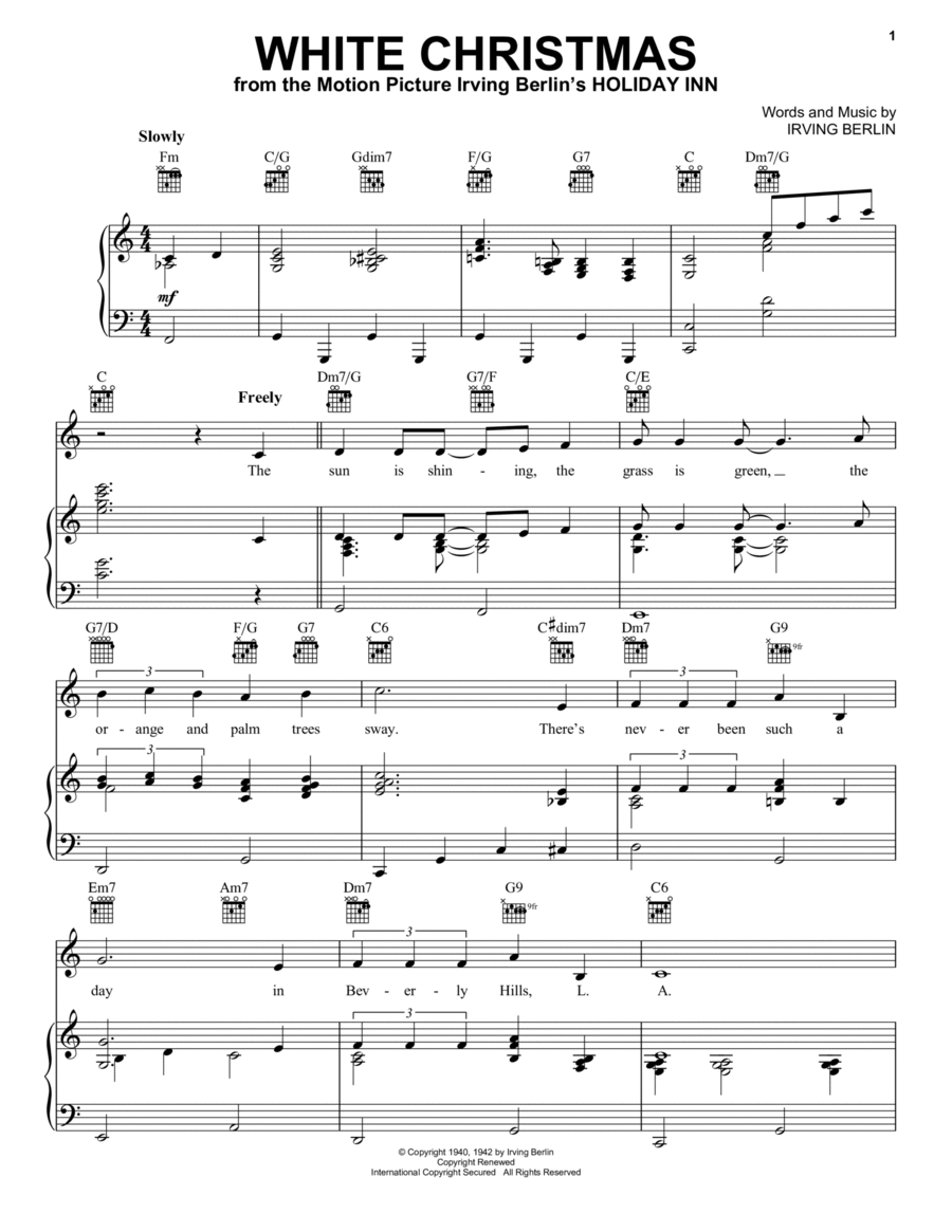 Download white christmas sheet music by bing crosby for Who wrote the song white christmas