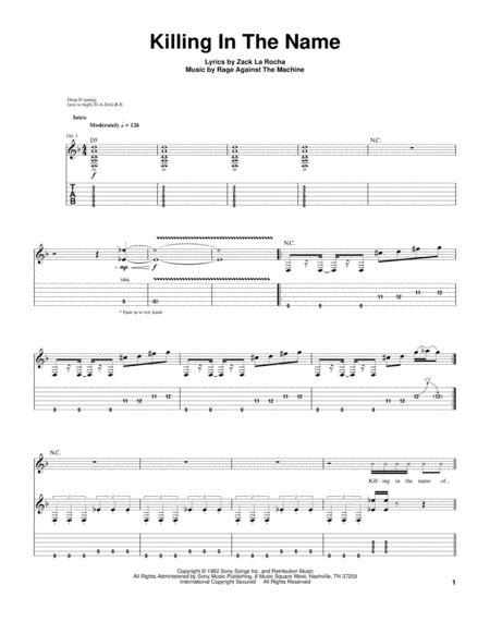 download killing in the name sheet music by rage against the machine sheet music plus. Black Bedroom Furniture Sets. Home Design Ideas