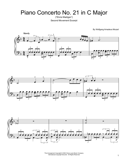 Piano Concerto No. 21 in C Major ('Elvira Madigan'), Second Movement Excerpt