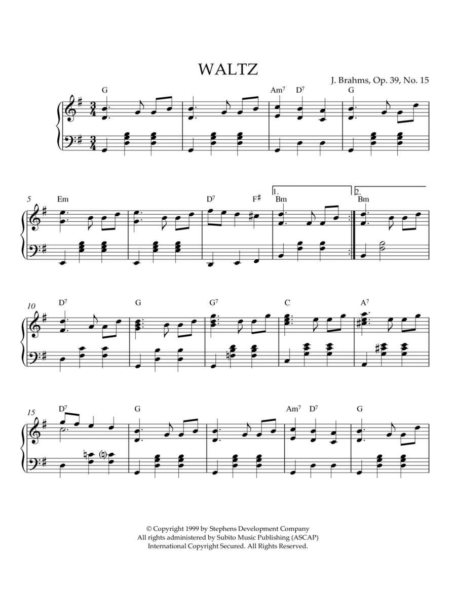 Waltz In G Major, Op. 39, No. 15
