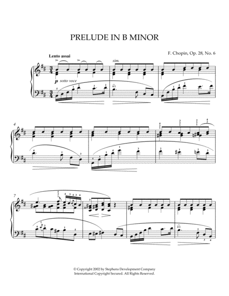 Prelude In B Minor, Op. 28, No. 6