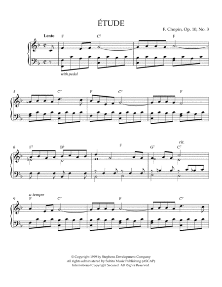 Etude In F Major, Op. 10, No. 3 (originally E Major)