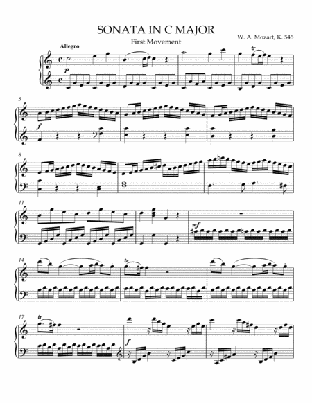Sonata in C Major, K. 545, First Movement
