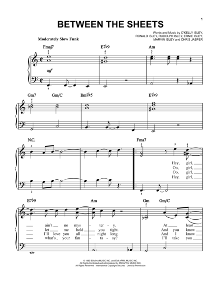 Download Between The Sheets Sheet Music By O''Kelly Isley - Sheet ...