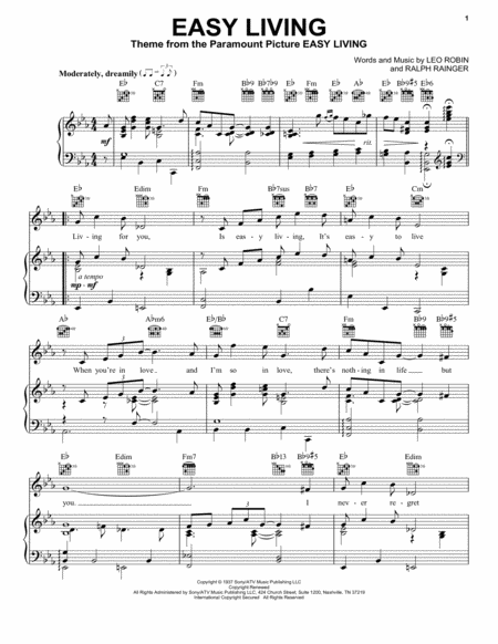 Download Easy Living Sheet Music By Billie Holiday Sheet