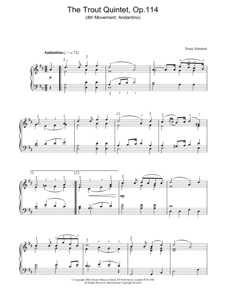 The Trout Quintet - 4th Movement: Andantino