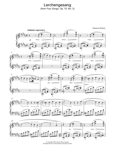 Lerchengesang (from Four Songs, Op. 70, No. 2)