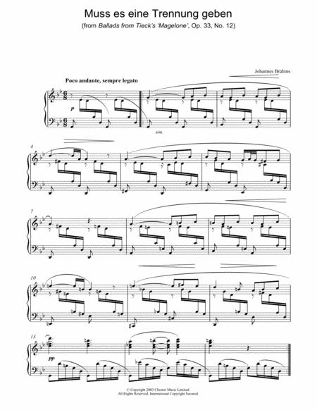 Muss es eine Trennung geben (from Ballads from Tieck's 'Magelone', Op. 33, No. 12)