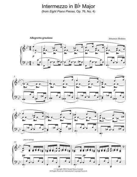 Intermezzo in Bb Major (from Eight Piano Pieces, Op. 76, No. 4)