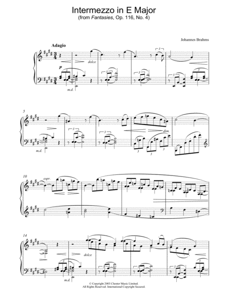 Intermezzo in E Major (from Fantasies, Op. 116, No. 4)
