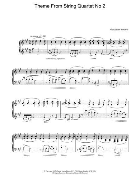 Theme From String Quartet No 2