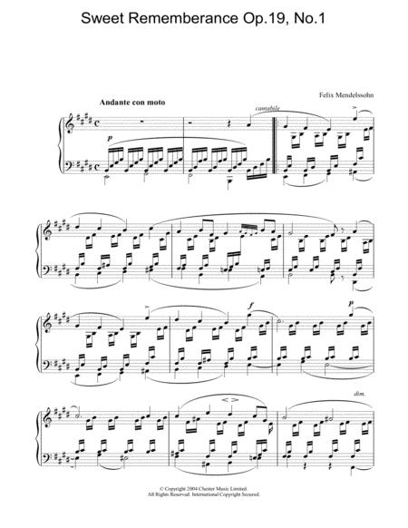 Sweet Rememberance Op.19, No.1