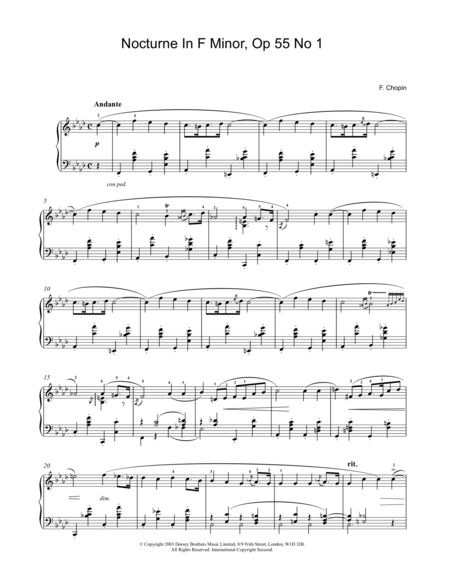Nocturne In F Minor, Op, 55, No. 1