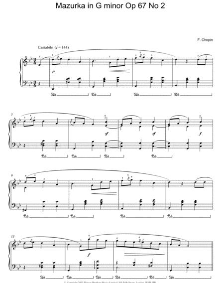 Mazurka In G Minor, Op. 67, No. 2