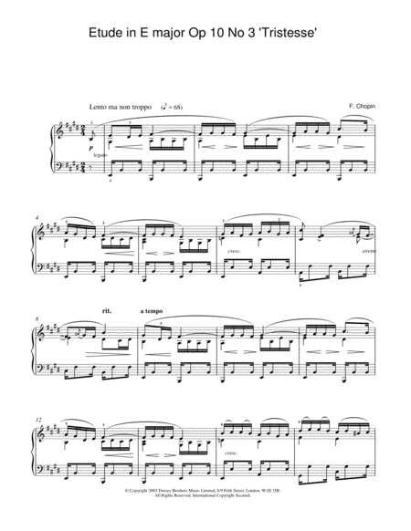 Etude In E Major, Op. 10, No. 3 (Tristesse)